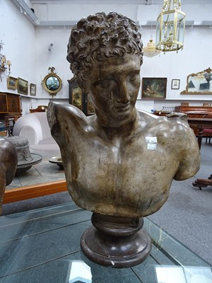 Lot 53 - A PLASTER LIBRARY BUST OF HERMES, AFTER THE ANTIQUE,  BY D BRUCCIANI AND CO