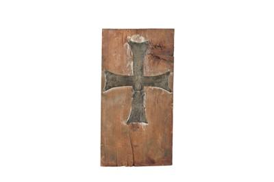 Lot 80 - A GREEK ORTHODOX BRASS CROSS, PROBABLY A MUSEUM COPY, 20TH CENTURY