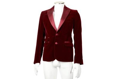Lot 13 - Dsquared2 Burgundy Velvet Dinner Jacket - Size 46