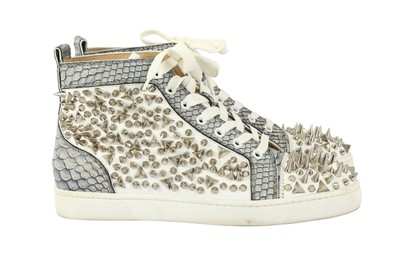 Lot 48 - Christian Louboutin White Python Spike High Top Trainer - Size 40
