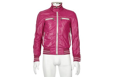 Lot 7 - Dolce & Gabbana Fuchsia Nylon Bomber Jacket - Size 44