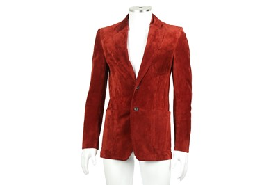 Lot 2 - Gucci Red Suede Single Breasted Blazer - Size 44