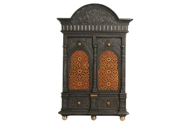 Lot 634 - AN ALHAMBRA-STYLE CAST-IRON SAFE WALL CABINET WITH A SECRET LOCK