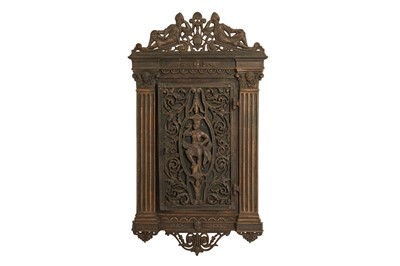 Lot 625 - A CAST IRON AND WOOD CIGAR HUMIDOR WALL CABINET