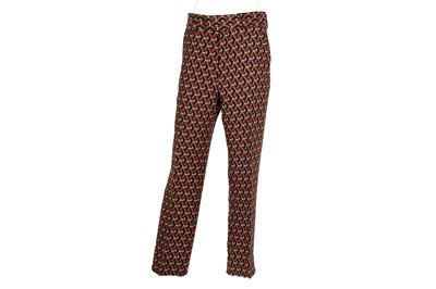 Lot 14 - Gucci Burgundy Silk Geometric Print Trouser - Size 44