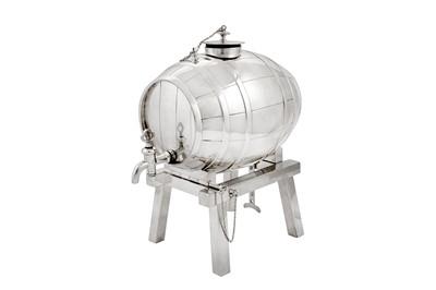 Lot 78 - An early 20th century silver plated (EPNS) spirit barrel, Sheffield circa 1910