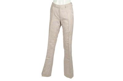 Lot 11 - Gucci Pale Pink Damask Silk Bootcut Trouser - Size 44