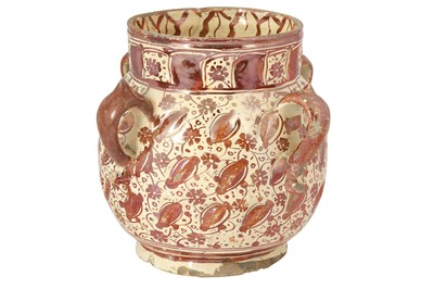 Lot 314 - AN HISPANO-MORESQUE RUBY COPPER LUSTRE POTTERY VASE