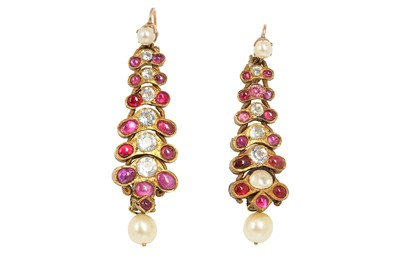 Lot 361 - A PAIR OF RUBY AND SPINEL-ENCRUSTED EARRINGS