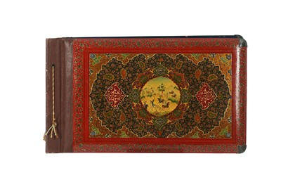 Lot 340 - A POLYCHROME-PAINTED, LACQUERED AND ENAMELLED ALBUM COVER WITH KHATAMKARI