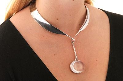 Lot 28 - Vivianna Torun Bülow-Hübe for Georg Jensen | A silver rock and crystal pendant necklace, 2000