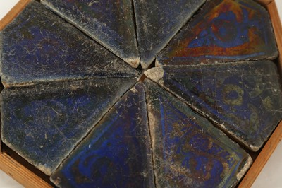 Lot 313 - EIGHT COBALT BLUE AND COPPER LUSTRE-PAINTED POTTERY TILES