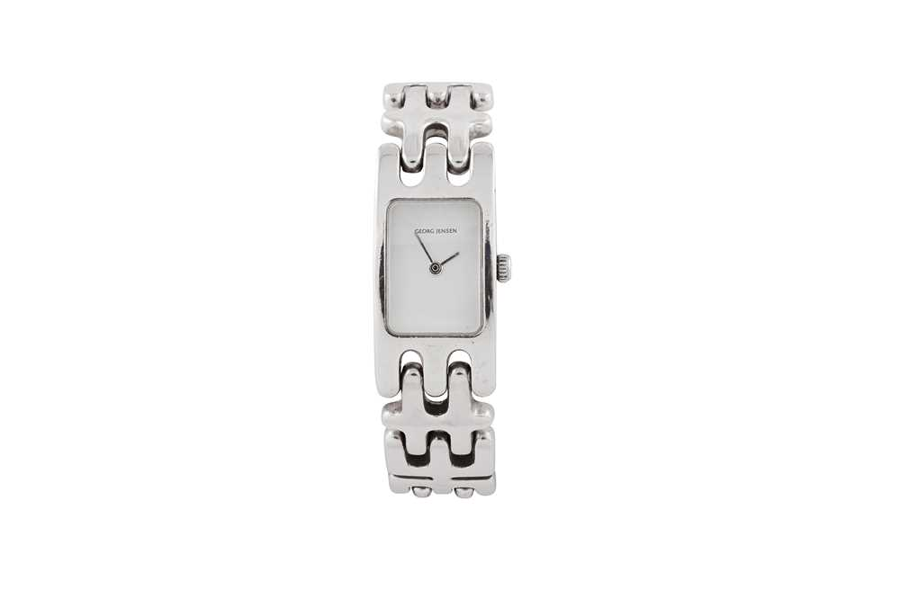 Lot 32 - Kindt Larsen for Georg Jensen | A silver wristwatch