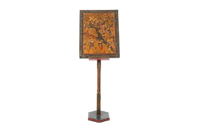 Lot 358 - A SAFAVID-STYLE POLYCHROME-PAINTED AND LACQUERED PAPIER-MÂCHÉ MIRROR CASE WITH STAND