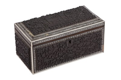 Lot 91 - A CEYLONESE EXPORT CARVED WOOD AND IVORY STATIONERY BOX, KANDY, LATE 19TH CENTURY