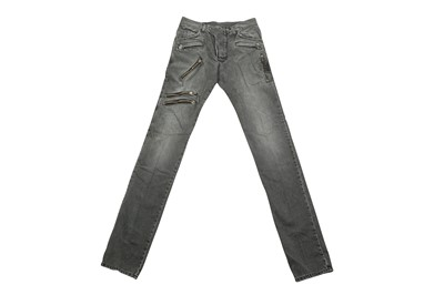 Lot 46 - Balmain Grey Distressed Biker Jeans - Size 28