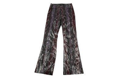 Lot 21 - Gucci Purple Python Flare Trouser - Size 44