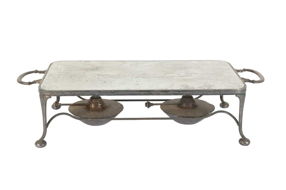 Lot 43 - A 20TH CENTURY SILVER PLATED (EPNS) TWIN HANDLED BURNER STAND, ASPREY AND CO