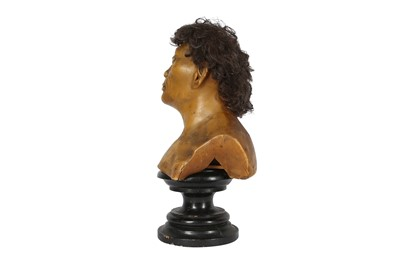 Lot 32 - A LATE 19TH / EARLY 20TH CENTURY WAX HEAD OF A NEANDERTHAL MAN