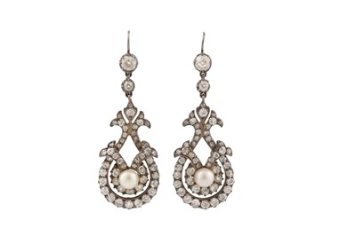 Lot 54 - A pair of cultured pearl and diamond pendent earrings