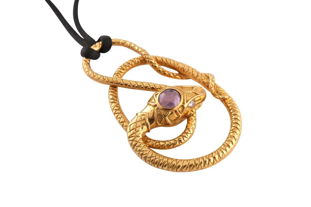 Lot 26 - Gucci | An amethyst and diamond snake pendant necklace