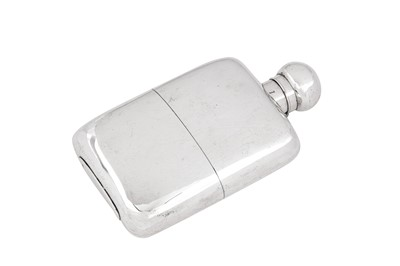 Lot 84 - A Victorian sterling silver two section spirit hip flask, London 1893 by Goldsmiths & Silversmiths Co