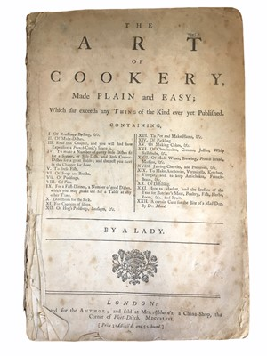 """Lot 522 - Cookery. [Glasse (Hannah)], """"A Lady"""" The Art of Cookery Made Plain and Easy"""