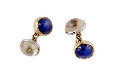 Lot 72 - A pair of multi-coloured sapphire cufflinks