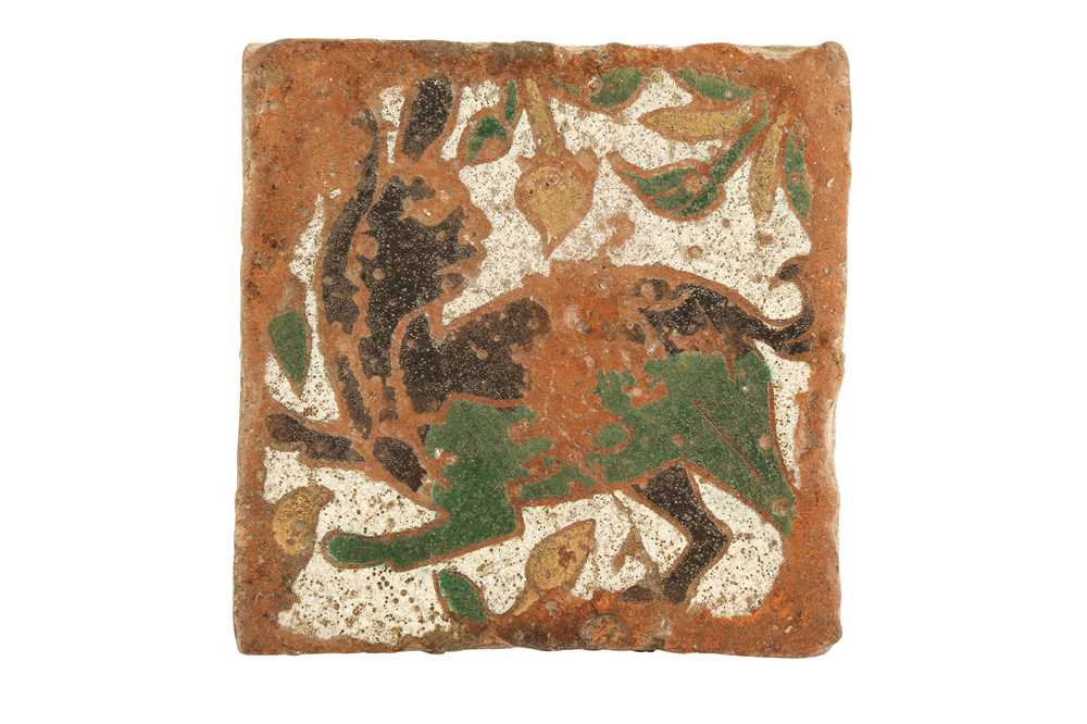 Lot 316 - A CUERDA SECA POTTERY FLOOR TILE WITH A HARE