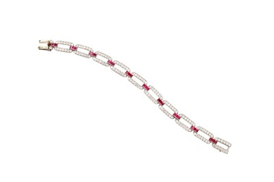 Lot 2 - An Art Deco ruby and diamond bracelet, circa 1925