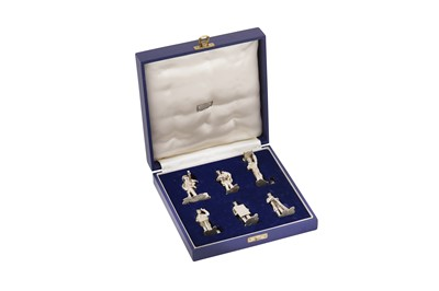 Lot 90 - A cased set of Elizabeth II sterling silver novelty Workers of London place card holders, London 1970 by WJH incuse