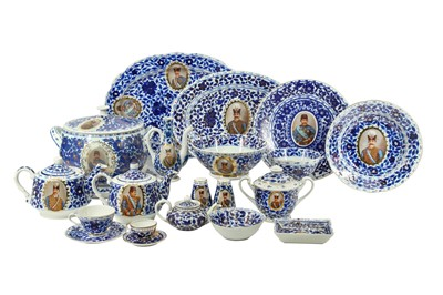 Lot 123 - A MIXED SET OF COMMEMORATIVE BLUE AND WHITE PORCELAIN SERVICES MADE FOR THE PERSIAN MARKET