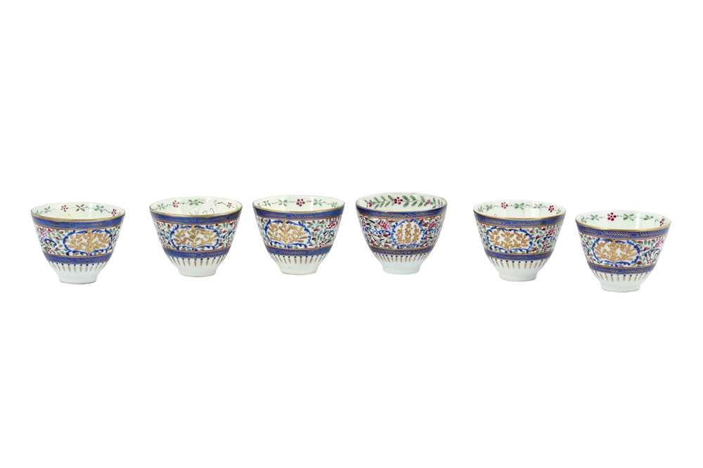 Lot 112 - SIX ENAMELLED PORCELAIN CUPS WITH GILT DETAIL