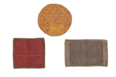 Lot 151 - A PANEL OF JAMUVAR SHAWL CLOTH AND TWO TERMEH PANELS