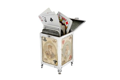 Lot 81 - An Edwardian sterling silver playing card case, Birmingham 1902 by Henry Clifford Davis