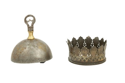 Lot 146 - A QAJAR GOLD-DAMASCENED STEEL BELL AND TWO QALYAN (WATER PIPE) CUP METAL FITTINGS