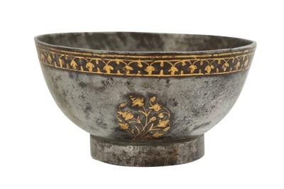 Lot 138 - A FINE QAJAR GOLD-DAMASCENED STEEL CUP