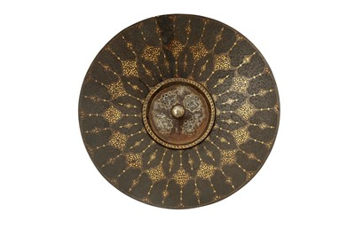 Lot 104 - A GOLD-DAMASCENED STEEL EWER BASIN WITH ITS OPENWORK COVER