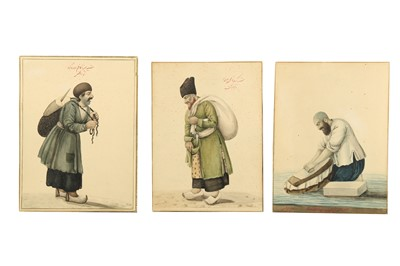 Lot 172 - THREE QAJAR WATERCOLOURS OF TRADESMEN AND TWO PORTRAITS OF YOUTHS