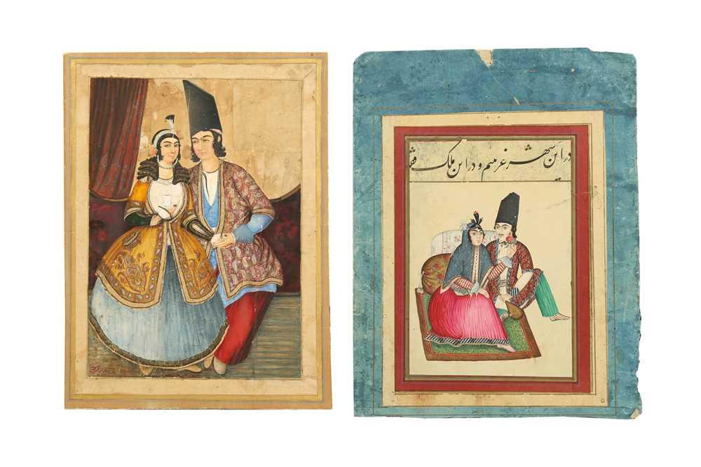 Lot 113 - TWO PORTRAITS OF QAJAR COUPLES