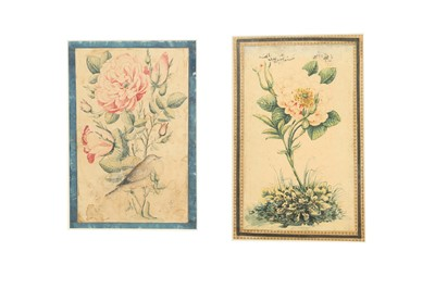 Lot 180 - TWO QAJAR STUDIES OF FLOWERS IN THE STYLE OF MURAQQA' ALBUM PAGES