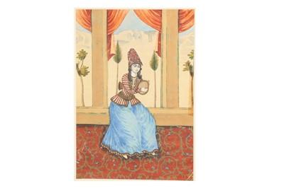 Lot 162 - A PORTRAIT OF A QAJAR FEMALE MUSICIAN
