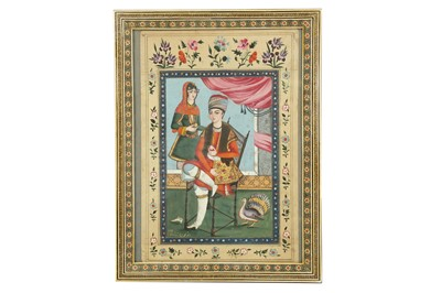 Lot 190 - AN INTERIOR SCENE WITH A COUPLE AND A TURKEY