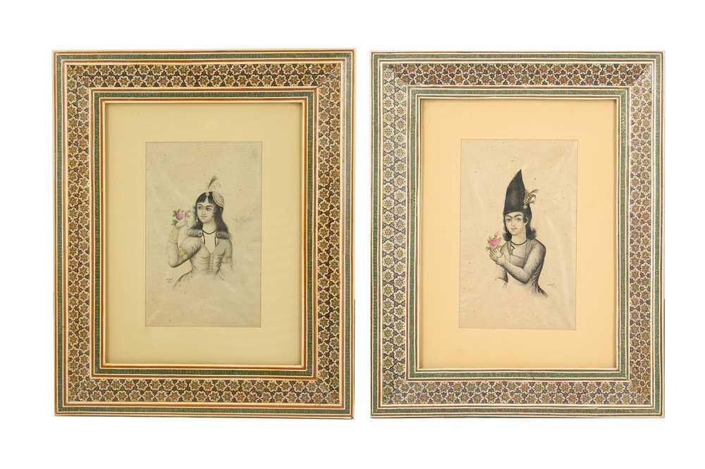 Lot 141 - TWO TINTED PORTRAIT SKETCHES OF A QAJAR YOUTH AND A QAJAR LADY