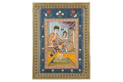 Lot 189 - AN INTERIOR SCENE WITH A LADY PLAYING A PERSIAN TAR (LUTE)