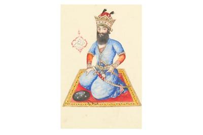 Lot 165 - A QAJAR PORTRAIT OF THE MYTHICAL KING KAY KAVUS