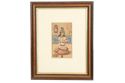 Lot 154 - A PORTRAIT OF A QAJAR COURTESAN WAITING FOR HER LOVER