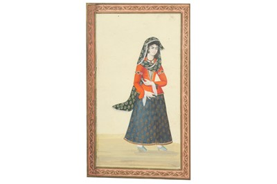 Lot 134 - TWO SMALL ALBUM PAGES WITH PORTRAITS OF QAJAR BEAUTIES