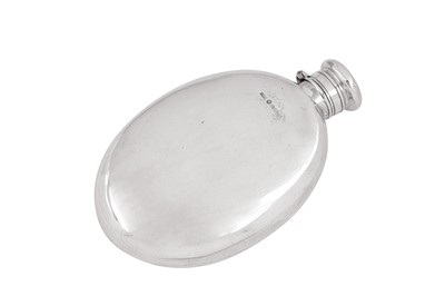Lot 85 - A Victorian provincial sterling silver spirit hip flask, Chester 1877 by Barnet Henry Joseph & Co
