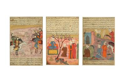 Lot 159 - THREE ILLUSTRATED FOLIOS FROM A DISPERSED SHAHNAMEH OF FERDOWSI